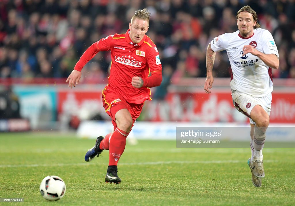 Sebastian Polter of 1.FC Union Berlin and Dave Bulthuis of 1. FC Nuernberg during the game between 1 FC Union Berlin and 1 FC Nuernberg on March 20, 2017 in Berlin, Germany.