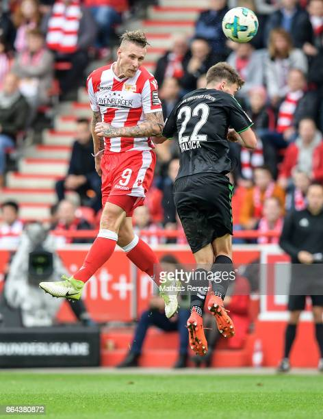 Sebastian Polter of 1FC Union Berlin and Mario Maloca of the SpVgg Greuther Fuerth during the game between Union Berlin and the SpVgg Greuther Fuerth...