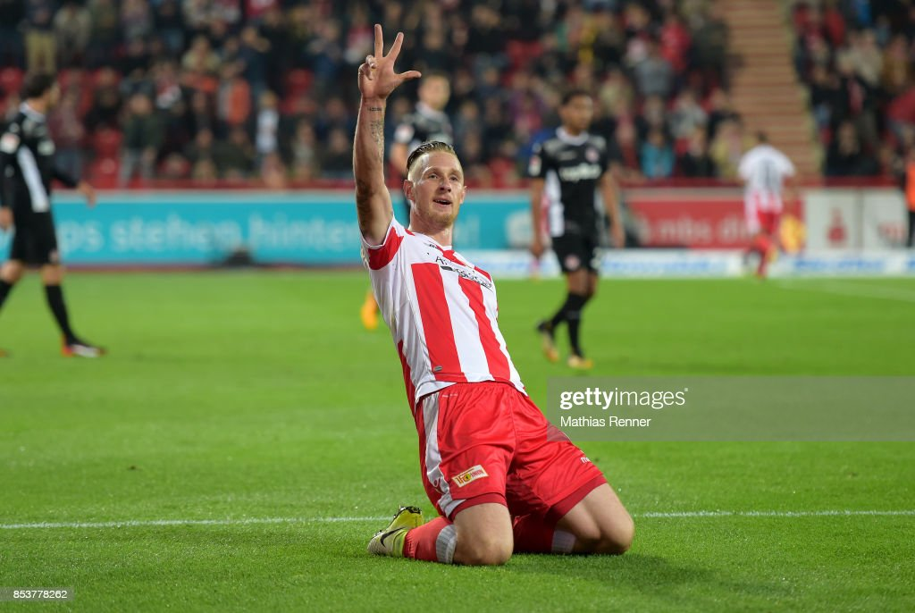Sebastian Polter of 1.FC Union Berlin celebrates after scoring the 5:0 during the Second Bundesliga match between Union Berlin and dem 1. FC Kaiserslautern on September 25, 2017 in Berlin, Germany.