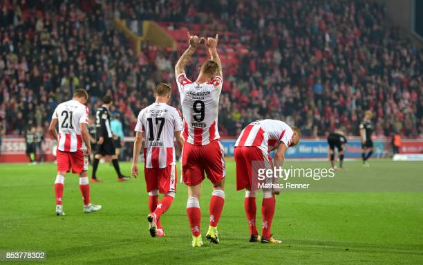 Sebastian Polter of 1FC Union Berlin celebrates after scoring the 50 during the Second Bundesliga match between Union Berlin and dem 1 FC...