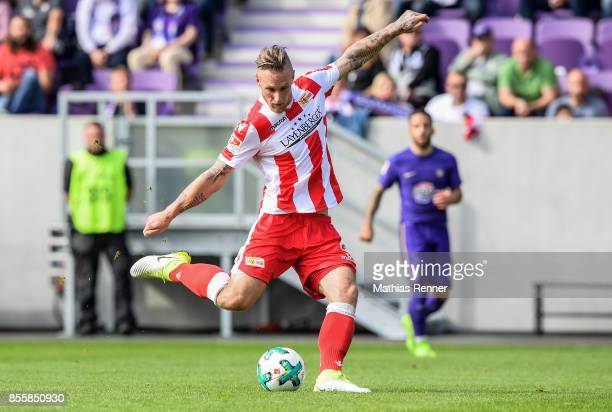 Sebastian Polter of 1FC Union Berlin during the game between FC Erzgebirge Aue and FC Union Berlin on september 30 2017 in Aue Germany