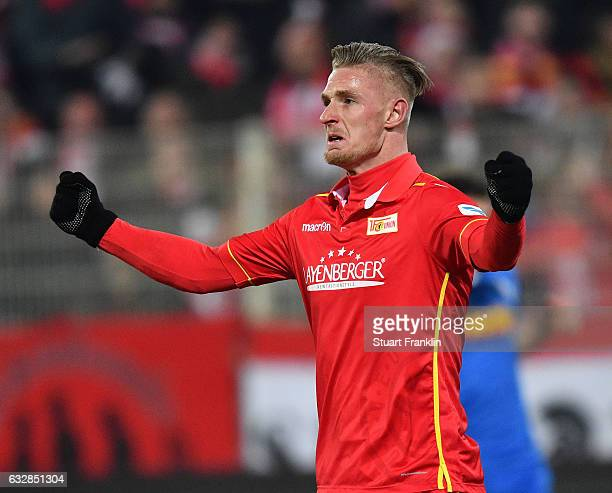 Sebastian Polter of Berlin celebrates scoring his goal during the Second Bundesliga match between 1 FC Union Berlin and VfL Bochum 1848 at Stadion An...