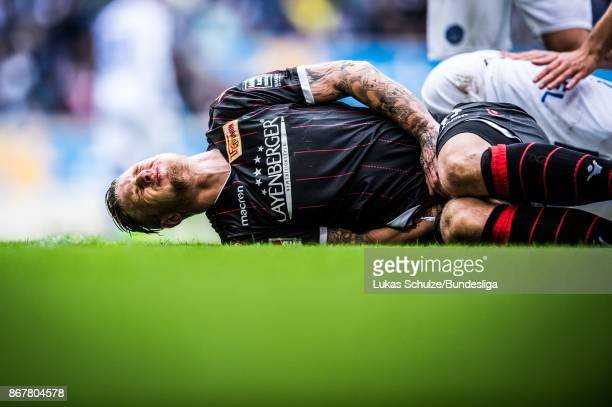 Sebastian Polter of Berlin reacts during the Second Bundesliga match between MSV Duisburg and 1 FC Union Berlin at SchauinslandReisenArena on October...