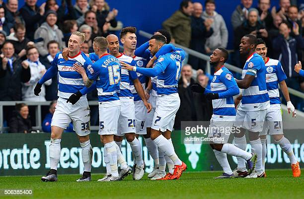 Sebastian Polter of Queens Park Rangers celebrates scoring the first goal during the Sky Bet Championship match between Queens Park Rangers and...