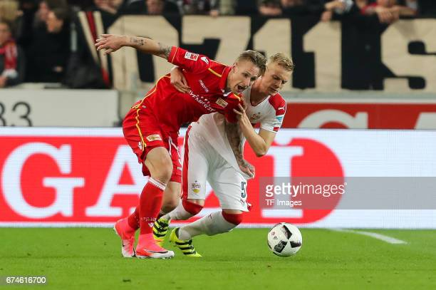Sebastian Polter of Union Berlin and Timo Baumgartl of Stuttgart battle for the ball during the Second Bundesliga match between VfB Stuttgart and 1...