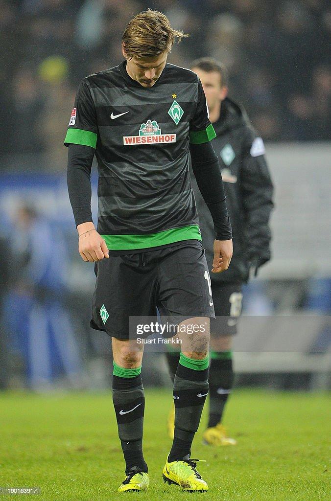 Sebastian Prodl of Bremen looks dejected during the Bundesliga match between Hamburger SV and SV Werder Bremen at Imtech Arena on January 27, 2013 in Hamburg, Germany.