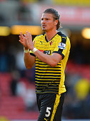 Sebastian Prodl of Watford applauds the fans at the end of the Barclays Premier League match between Watford and Crystal Palace at Vicarage Road on...