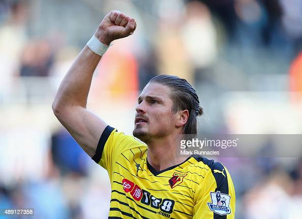 Sebastian Prodl of Watford celebrates his team's 21 win in the Barclays Premier League match between Newcastle United and Watford at St James' Park...