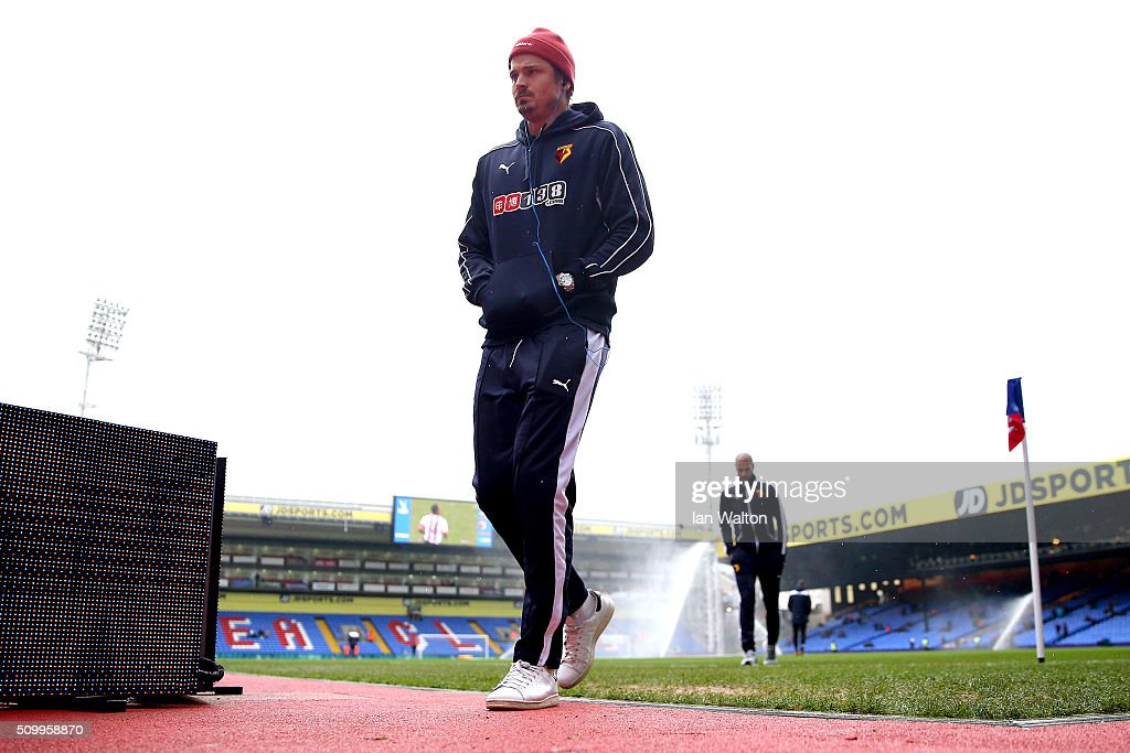 Sebastian Prodl of Watford is seen after inspecting the pitch prior to the Barclays Premier League match between Crystal Palace and Watford at Selhurst Park on February 13, 2016 in London, England.