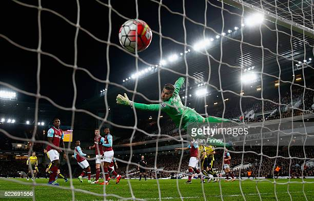 Sebastian Prodl of Watford scores his sides only goal during the Barclays Premier League match between West Ham United and Watford at the Boleyn...