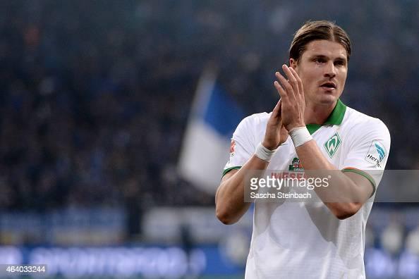 Sebastian Proedl of Bremen celebrates after scoring his team's first goal during the Bundesliga match between FC Schalke 04 and SV Werder Bremen at...