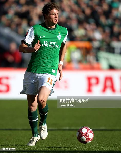 Sebastian Proedl of Bremen plays the ball during the Bundesliga match between Werder Bremen and VfB Stuttgart at Weser Stadium on March 6 2010 in...