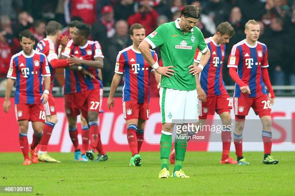 Sebastian Proedl of Bremen reacts during the Bundesliga match between SV Werder Bremen and FC Bayern Muenchen at Weserstadion on March 14 2015 in...