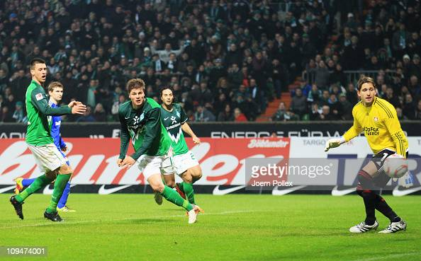 Sebastian Proedl of Bremen scores his team's second goal during the Bundesliga match between Werder Bremen and Bayer Leverkusen at Weser Stadium on...