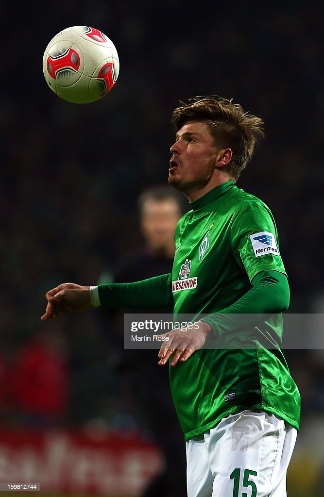 Sebastian Proedl of Bremen stops the ball during the Bundesliga match between Werder Bremen and Borussia Dortmund at Weser Stadium on January 19, 2013 in Bremen, Germany.