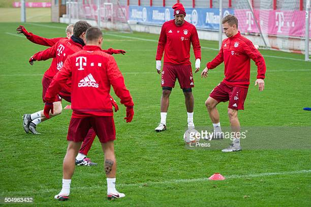 Sebastian Rode Thomas Mueller Rafinha Jerome Boateng and Joshua Kimmich in action during a training session of FC Bayern Muenchen on January 14 2016...