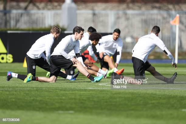 Sebastian Rudy and the team are seen during training of German national team ahead of the FIFA World Cup qualification match 2018 against Azerbaijan...