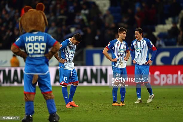 Sebastian Rudy Andrej Kramaric and Steven Zuber of Hoffenheim react after the Bundesliga match between 1899 Hoffenheim and SV Darmstadt 98 at Wirsol...