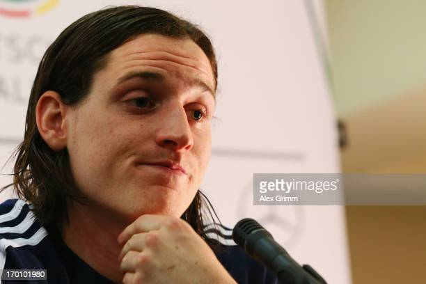 Sebastian Rudy attends a Germany U21 press conference at Marina Hotel on June 7 2013 in Tel Aviv Israel