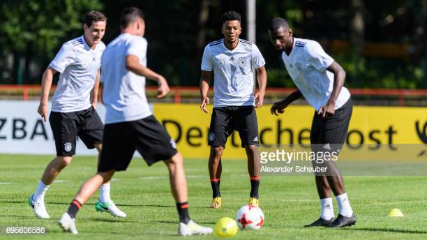 Sebastian Rudy Benjamin Henrichs and Antonio Ruediger in action during a training session on June 13 2017 in Kelsterbach Germany