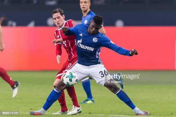 Sebastian Rudy of FC Bayern Munich Breel Embolo of FC Schalke 04 during the Bundesliga match between Schalke 04 and Bayern Munich on September 19...