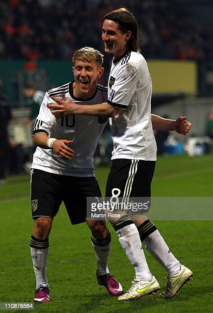Sebastian Rudy of Germany celebrates after he scores his team's 2nd goal during the U21 international friendly match between Germany and Netherlands...