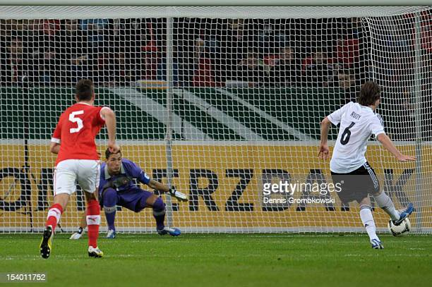 Sebastian Rudy of Germany scores his team's first goal during the Under 21 European Championship Play Off match between Germany and Switzerland at...
