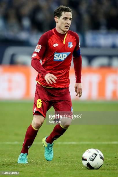 Sebastian Rudy of Hoffenheim controls the ball during the Bundesliga match between FC Schalke 04 and TSG 1899 Hoffenheim at VeltinsArena on February...