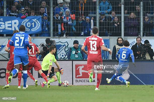 Sebastian Rudy of Hoffenheim scores his team's second goal past goalkeeper Sven Ulreich of Stuttgart during the Bundesliga match between 1899...