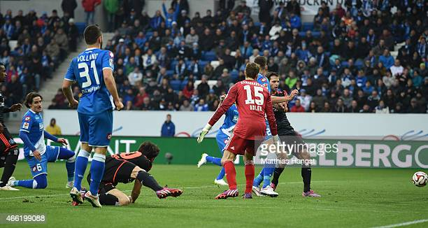 Sebastian Rudy of Hoffenheim scores his team's third goal during the Bundesliga match between 1899 Hoffenheim and Hamburger SV at Wirsol...