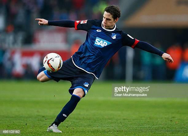 Sebastian Rudy of Hoffenheim shoots on goal during the Bundesliga match between 1 FC Koeln and TSG 1899 Hoffenheim held at RheinEnergieStadion on...