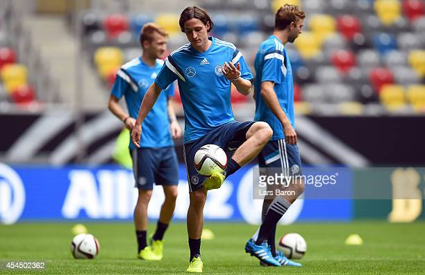 Sebastian Rudy playes with the ball during a Germany training session at Esprit Arena on September 2 2014 in Duesseldorf Germany