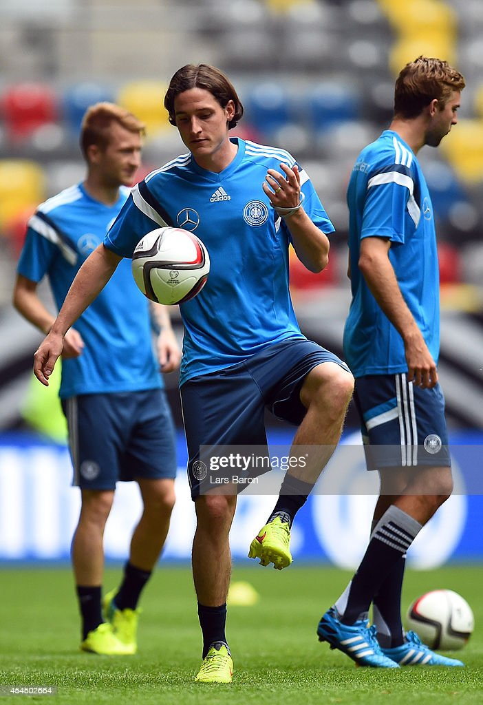 <a gi-track='captionPersonalityLinkClicked' href=/galleries/search?phrase=Sebastian+Rudy&family=editorial&specificpeople=4410074 ng-click='$event.stopPropagation()'>Sebastian Rudy</a> playes with the ball during a Germany training session at Esprit Arena on September 2, 2014 in Duesseldorf, Germany.