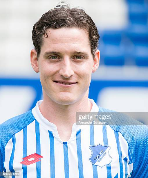 Sebastian Rudy poses during the team presentation of 1899 Hoffenheim at Wirsol RheinNeckarArena on July 14 2015 in Sinsheim Germany