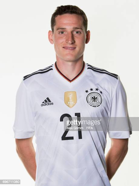 Sebastian Rudy poses for a picture during the Germany team portrait session on June 16 2017 in Sochi Russia