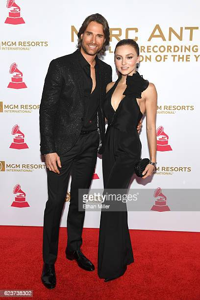 Sebastian Rulli and Angelique Boyer attend the 2016 Person of the Year honoring Marc Anthony at MGM Grand Garden Arena on November 16 2016 in Las...