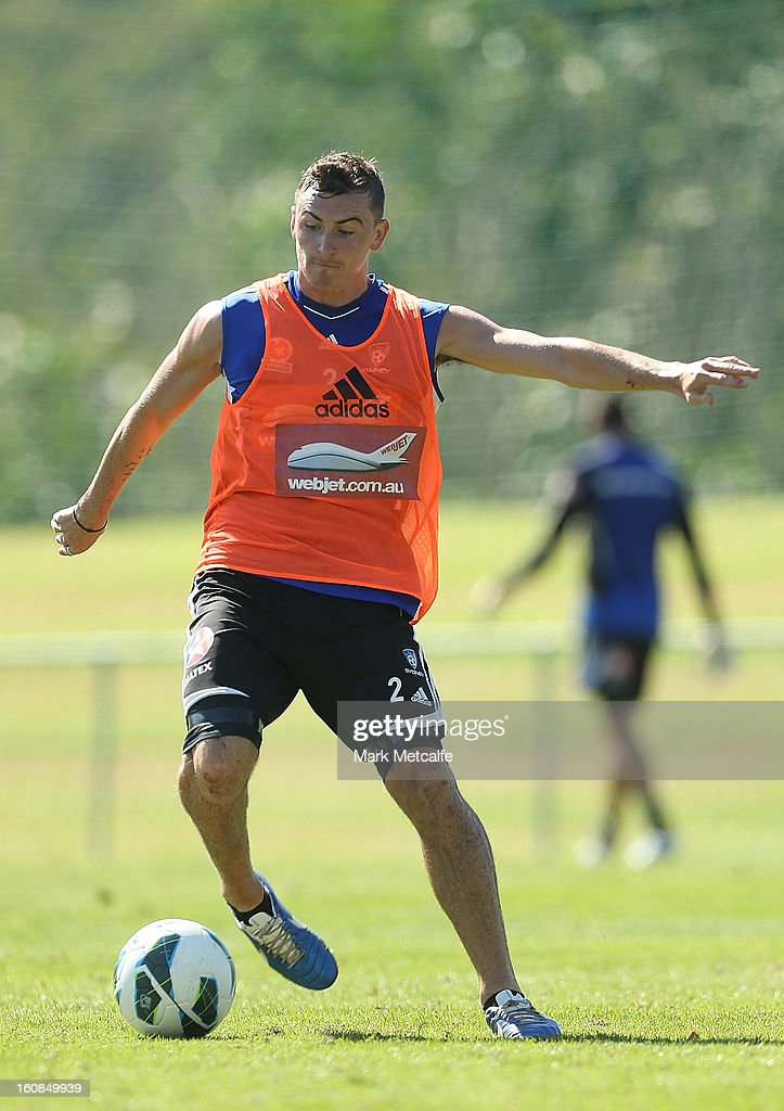 Sebastian Ryall controls the ball during a Sydney FC A-League training session at Macquarie Uni on February 7, 2013 in Sydney, Australia.