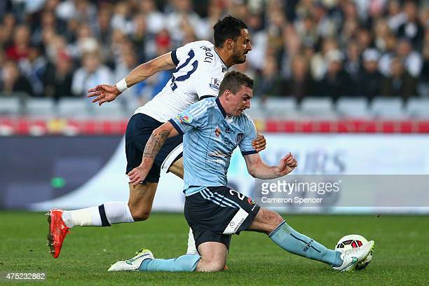 Sebastian Ryall of Sydney FC and Nacer Chadli of Hotspur contest the ball during the international friendly match between Sydney FC and Tottenham...