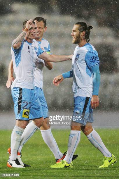 Sebastian Ryall of Sydney FC celebrates a goal with Joshua Brillante during the FFA Cup Semi Final match between South Melbourne FC and Sydney FC at...