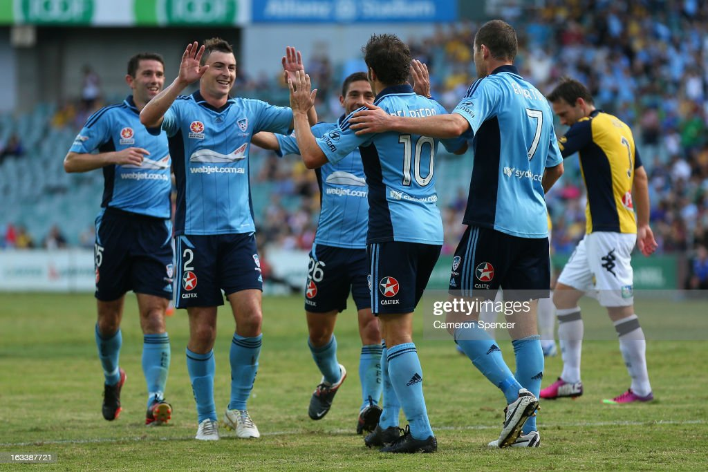 Sebastian Ryall of Sydney FC celebrates scoring a goal with team mate Alessandro Del Pierro during the round 24 A-League match between Sydney FC and the Central Coast Mariners at Allianz Stadium on March 9, 2013 in Sydney, Australia.