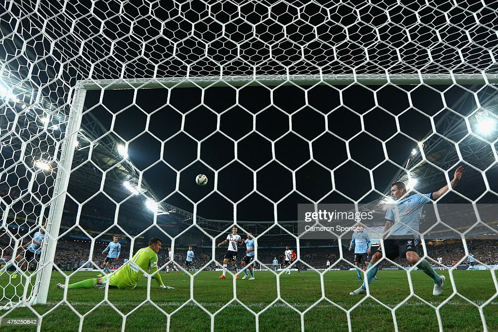 Sebastian Ryall of Sydney FC saves a shot on goal by Harry Kane of Hotspur during the international friendly match between Sydney FC and Tottenham Spurs at ANZ Stadium on May 30, 2015 in Sydney, Australia.