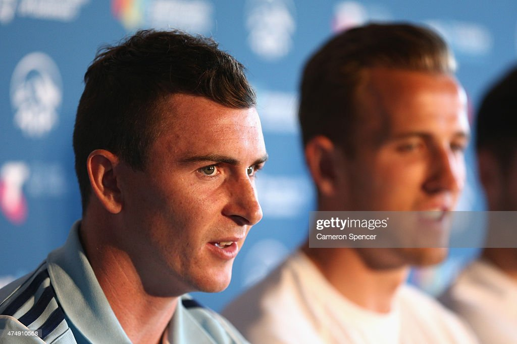 Sebastian Ryall of Sydney FC talks during a Tottenham Hotspur Official Arrival Media Conference at Overseas Passenger Terminal on May 28, 2015 in Sydney, Australia. Hotspur are playing Sydney FC in Sydney on Saturday, May 30th, 2015.