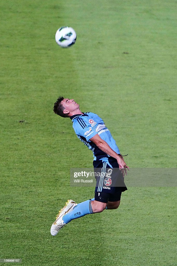 Sebastian Ryall of Sydney heads the ball during the round 15 A-League match between the Perth Glory and Sydney FC at nib Stadium on January 5, 2013 in Perth, Australia.
