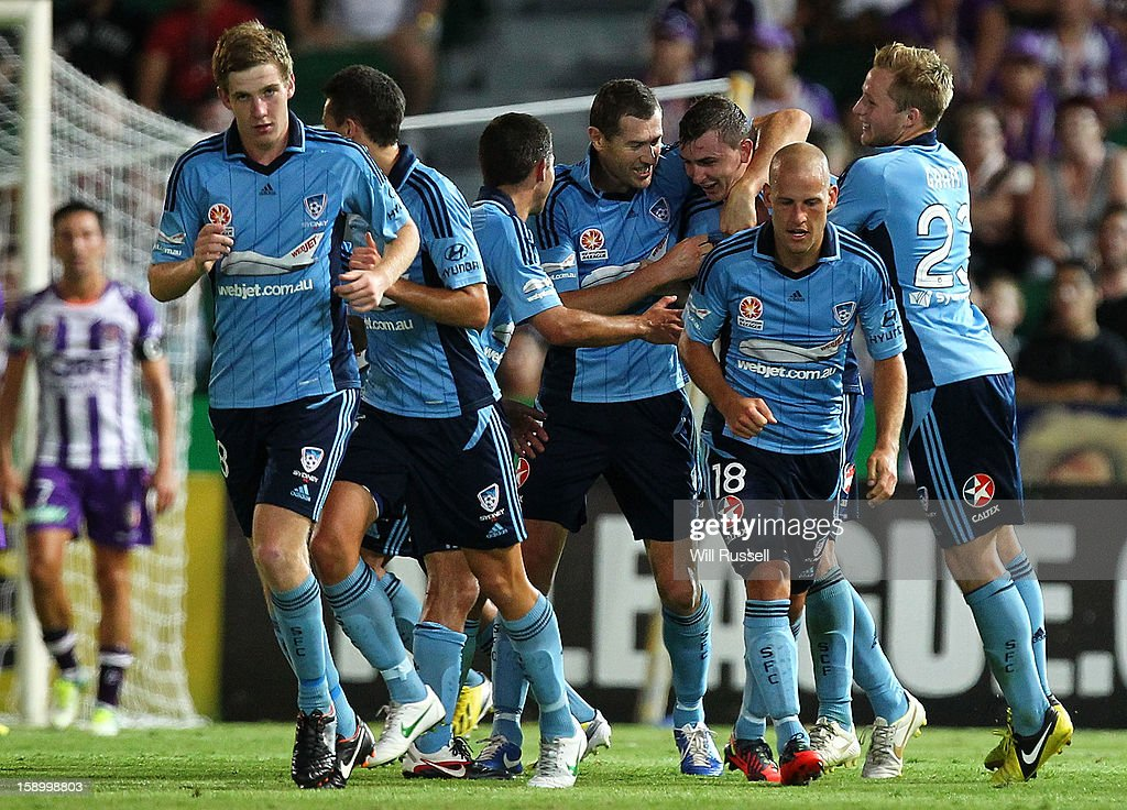 Sebastian Ryall of Sydney is congratulated after scoring a goal during the round 15 A-League match between the Perth Glory and Sydney FC at nib Stadium on January 5, 2013 in Perth, Australia.