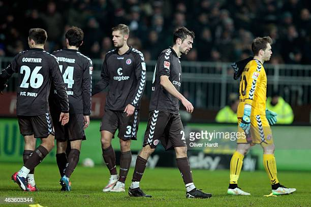 Sebastian Schachten of Hamburg appears frustrated after the Second Bundesliga match between FC St Pauli and Greuther Fuerth at Millerntor Stadium on...