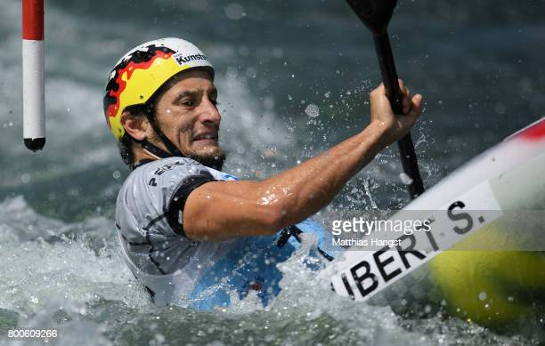 Sebastian Schubert of Germany competes during the Kayak Single Men's Final of the ICF Canoe Slalom World Cup on June 24 2017 in Augsburg Germany