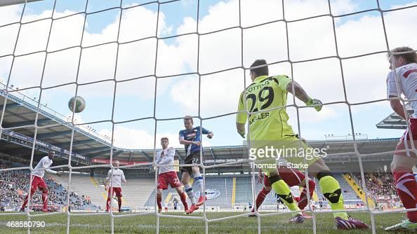 Sebastian Schuppan of Bielefeld scores his teams first goal during the Third League match between Arminia Bielefeld and Energie Cottbus at Schueco...