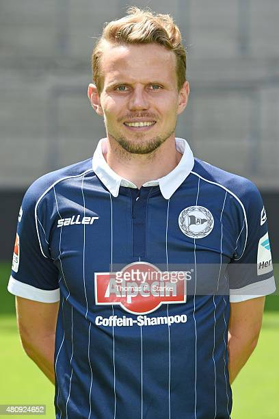 Sebastian Schuppan poses during the Second Bundesliga team presentation of Arminia Bielefeld at Schueco Arena on July 16 2015 in Bielefeld Germany