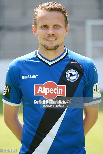 Sebastian Schuppan poses during the Third League team presentation of Arminia Bielefeld at Schueco Arena on July 17 2014 in Bielefeld Germany