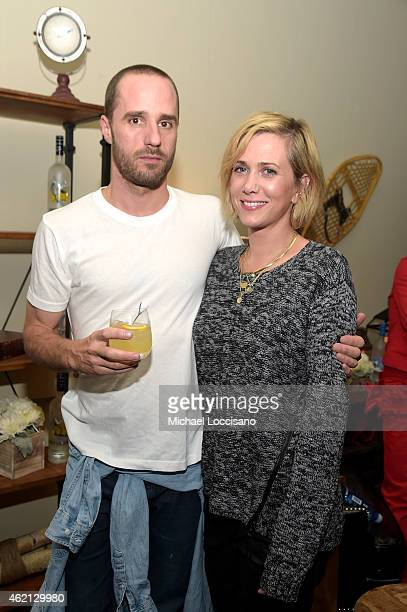 Sebastian Silva and Kristen Wiig at Nasty Baby Cast Party at the GREY GOOSE Blue Door during Sundance on January 24 2015 in Park City Utah